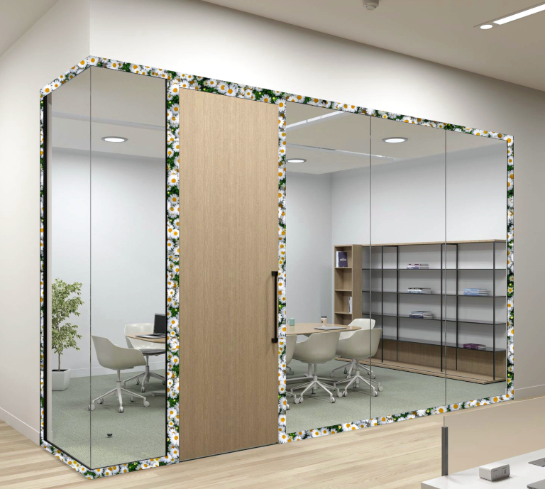 Bespoke office partition printed with daisies